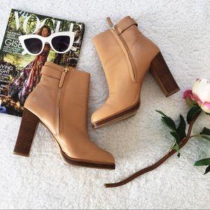 Zara Leather Tan Booties
